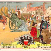 Liebig s-Fleisch-Extract-Karten Das-Wittenlager-am-Strande-von-Schonen neu