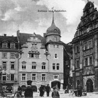 Gotha Handels Schule  neben Rathaus und Ratskeller   Poststempel 1912