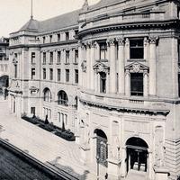 Berlin, Deutsche-Bank, Depostien-Haupt-Casse-mit-Schwibbogen-zur-Centrale, Poststempel-1914