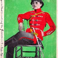 Beilage-zum-Satyr,-Frau-in-Uniform-mit-Zigarette,-Poststempel-1903