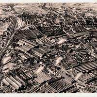 Essen,-Friedrich-Krupp-AG,-Teilansicht-der-Gußstahlfabrik-vom-Flugzeug-aus