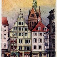 Hannover -Blick-vom-Schloßhof-auf-die-Hahn sche-Buchhandlung-und-Marktkirche