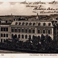 Postkarte_Schule, Meerane i. Sa., Fachschule für Textil-Industrie und Handelsschule