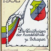 Schapen -Handelsschule -Absolvia-der-Einjährigen-1932- Rückseite-Unterschrift-Bernhard-Heitzel