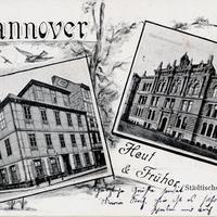Hannover,-Städtische-Handelsschule-heut-und-früher,-Poststempel-1900
