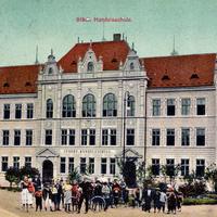 Brüx -Städtische-Handelsschule -Poststempel-1911