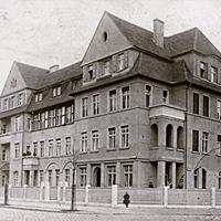 Magdeburg, Handelsschule, Poststempel 1911