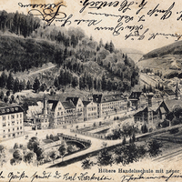 Calw,-Höhere-Handelsschule-mit-neuer-Brücke,-Poststempel-1907