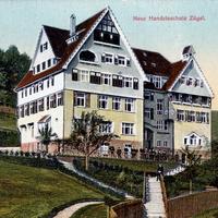Calw, Neue Handelsschule Zügel, Poststempel 1909