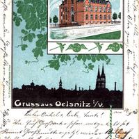 Oelsnitz i.V., Handelsschule (Einweihung am 24.9.1903), Absendedatum 1903