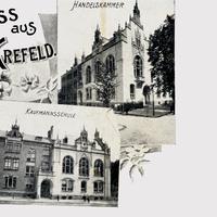 Krefeld, Kaufmannsschule und Handelskammer, Poststempel 1900